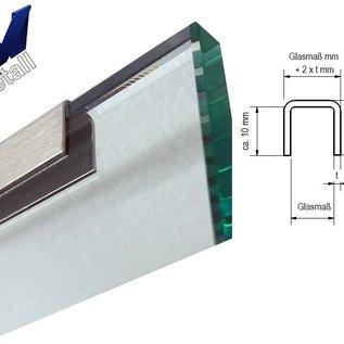 Versandmetall Profil encadrement pour vitrage de balcon, en acier inoxydable de 1,0mm, pour epaisseur de verres de 10 jusqu'à 18mm,
