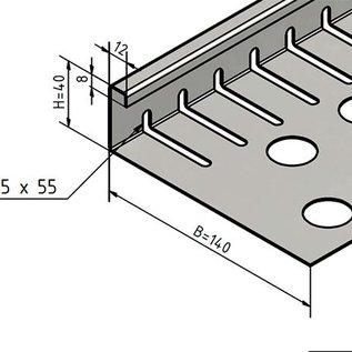 Versandmetall bande de gravier petite - acier inoxydable 1.4301 - perforée - pliée à 90 °