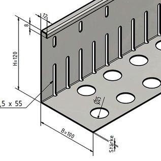 Versandmetall Bande de gravier  grande perforée - acier inox 1.4301 - perforée - pliée à 90 °