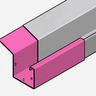 Versandmetall Gouttière P2 - connecteur droite - acier inox surface brossè  en grain 320 1,5mm