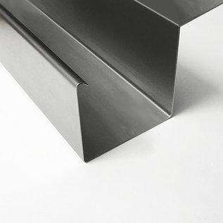 Versandmetall Gouttière de pluie modele P2 - queue à gauche avec drain - surface brossè en grain 320  en acier inoxydable