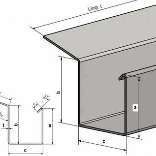 Versandmetall Regenrinne P2 - Endstück rechts mit Ablaufstutzen - aus Edelstahl 1.4301 außen Schliff K320