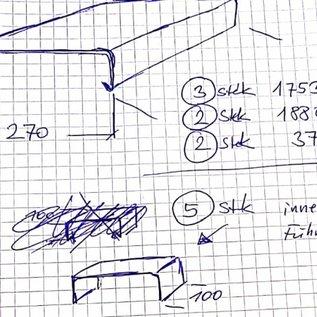 Versandmetall -ca 10 lfdm Mauerabdeckung 1,0 mm aus Aluminium natur, Breite 270mm h80mm (3x1753mm 2x1880mm 1x 90° Ecke 370x370) 5 Verbinder
