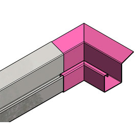 Versandmetall Gouttière inox de pluie P2 - connecteur angle exterieur 90° - acier inox surface brossè  en grain 320