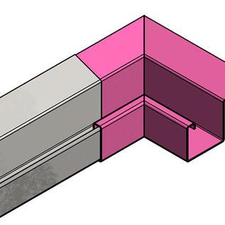 Versandmetall Gouttière de pluie P2 - connecteur angle exterieur 90° - acier inox surface brossè  en grain 320
