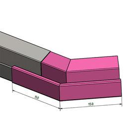 Versandmetall Regenrinne P2 - Außen-Eckverbinder 135° - Edelstahl außen Schliff K320