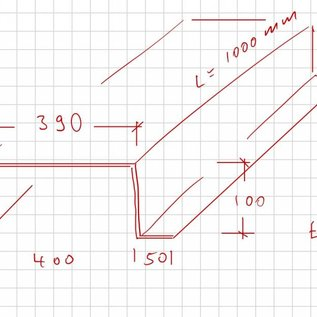 -6 Stück Hutprofil aus 2,0mm verzinkt (DX51) 50x100x395x100x50mm Länge 1.000mm