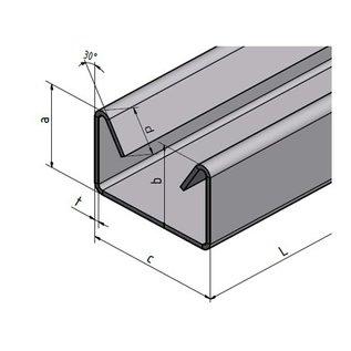Versandmetall 4-delig roestvrijstalen U-profiel met binnenrand t = 1,0 mm a = 20 mm c60 mm (binnen 58 m) b = 22 mm D = 10 mm L = 2500 mm BUITEN korrel 320