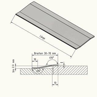 Versandmetall Bande de transition du profil de compensation 2,0mm Inox 1.4301 2 fois plie