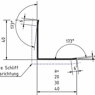Versandmetall  -18-delige roestvrijstalen hoek 1,5 mm buiten K320 3 keer gevouwen axb 20x20 mm lengte 2000 mm