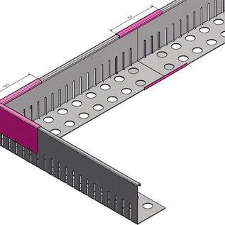 Versandmetall bande de gravier Connecteur grande - acier inoxydable 1.4301 - perforé - plié à 90 °