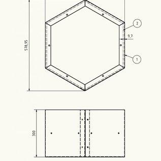 Versandmetall Individuele modules voor HEXAGON XL brandhoutplank van gepoedercoat staal