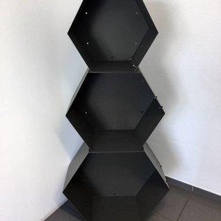 Versandmetall Legbord voor brandhout HEXAGON gemaakt van 3 modules van verschillende Maaten XL geproducered van staal oppervlakke poedercoated