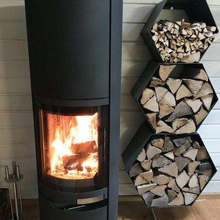 Versandmetall Ètagère de bois de chauffage HEXAGON composé de 3 modules de différentes tailles XL produit en acier surface  enduit de   poudre