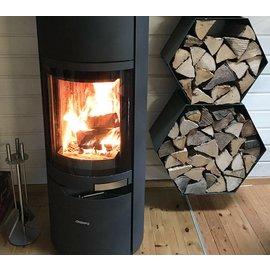 Versandmetall Legbord voor brandhout HEXAGON XL 2-delig formaat XL gemaakt van staal oppervlakke poedercoated