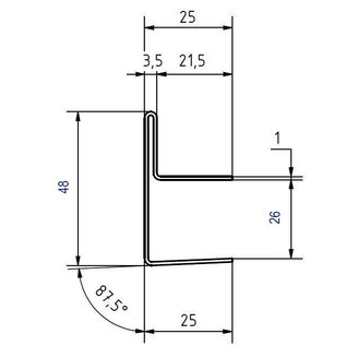 Versandmetall Edelstahl Glasdach-Regenrinne 26mm für ESG-Glas 25mm oder VSG Glas 25,76mm, 1.4301 aussen Schliff K320