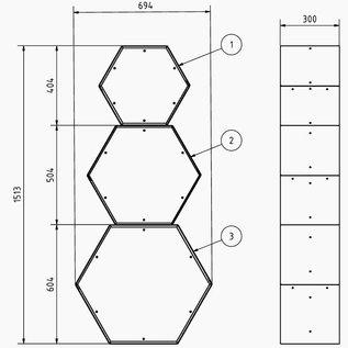 Versandmetall Legbord voor brandhout HEXAGON gemaakt van 3 modules van verschillende Maaten XL met voetstuk geproducered staal oppervlakke poedercoated