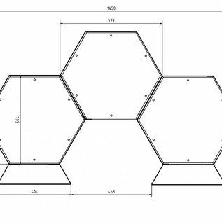 Versandmetall Kaminholzregal Brennholzregal Hexagon XL-350 bis 30cm lange Scheite 0,19m3 5-tl.