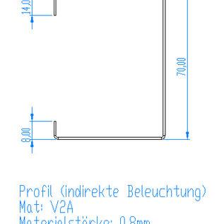 Versandmetall -4 Stück C-Profil Edelstahl 1mm aussen K320 Höhe 50mm Breite 70mm Längen 2x2400 mm, 2x1100mm nach Kundenskizze
