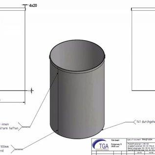 Versandmetall - 1 Stck Mülleimer aus Edelstahl Niro 420mm h= 710mm Aussen K320, Rand oben 20x4mm