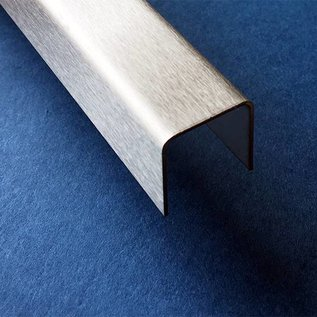 Versandmetall -5 Stück  Edelstahl U-Profil AUSSEN Korn 320 t=2,0mm AUSSEN Maße axcxb 20x42x20mm Länge=2500mm
