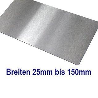 dunne plaat roestvrij Staal 1.4301 Plaatmaterial gesneden op Maat Breedte 25 - 150 mm Lengte 2500 mm, oppervlakke geschuurd(grid320)