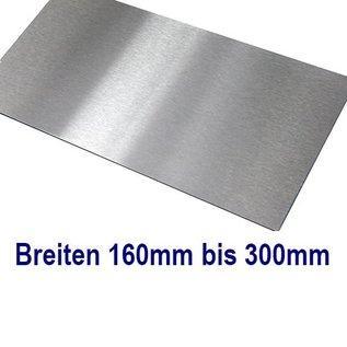 Dunne plaat, Roestvrij Staal, 1.4301, gesneden op Maat, Breedte 160 - 300 mm, Lengte 1500 mm, oppervlakke geschuurd (grid320)
