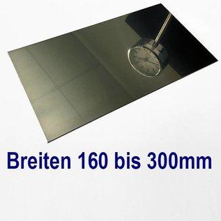 dunne plaat roestvrij staal, gesneden op Maat, Breedte 160 - 300 mm, Lengte 2500 mm, oppervlakke glanzend/spiegelnde