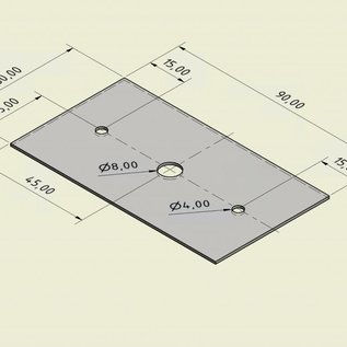 42- St V2A 1.4301 Edelstahlblech t= 1,0mm 50mm Breite x 90 mm Länge gelocht nach Skizze einseitig Korn 320 Eckenradius  R1mm