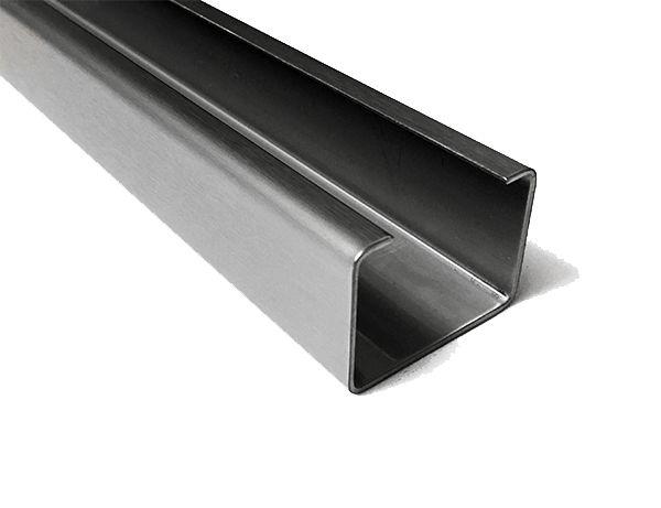 Robuste Profil U-Profil 1,0 mm L = 1500 mm En acier inoxydable 1.4301 émissive.