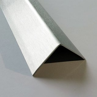 Versandmetall Kit économique  Corniéres de protection inox á 3 plis,  50 x 50 x 1,5 mm longueur 2000 mm surface brossé en  grain320