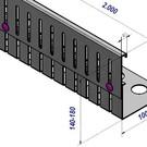 Versandmetall Grindkeringsprofiel Grindprofiel hoogte verstelbaar roestvrij Staal Hoogte 110-150mm