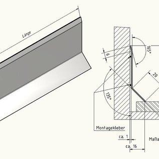 Versandmetall Plint 2 Plintplunje 1,0 mm bodem 16 mm 2x rand roestvaststalen buitenkern 320