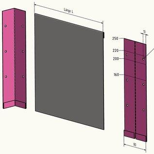 Versandmetall 2,5m (2500mm) lange stabile Rasenkanten Kiesleisten mit Falz aus Edelstahl 160-250mm hoch