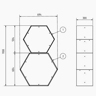Versandmetall Kaminholzregal HEXAGON aus 2 verschieden große Module XL aus pulverbeschichtetem Stahl