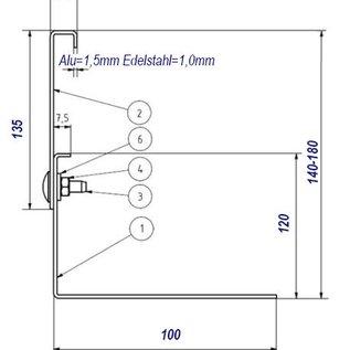 Versandmetall Bande de garvier  en acier inoxydable réglable en hauteur 1.4301 hauteur 140-180mm - plié à 90 °