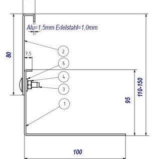 Versandmetall Kiesfangleiste Aluminium höhenverstellbar Al99,5 Höhe 110-150mm – 90° gekantet