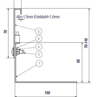 Versandmetall Grindkeringsprofiel grindprofiel hoogte verstelbaar roestvrij Staal 1.4301 Hoogte 70-110mm gezet 90°