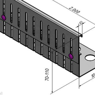 Versandmetall Kiesfangleiste Edelstahl höhenverstellbar 1.4301 Höhe 70-110mm – 90° gekantet