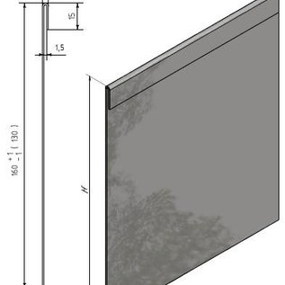 Versandmetall 38  mtr (19x2mtr) Stevige randenkanten Grindstrip met dubbele Bovenrand van 1,0 mm dik roestvrij staal (1.4301) hoogte 120mm