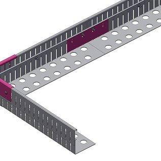 Versandmetall Bande de gravier aluminium réglable en hauteur 1.4301 hauteur 90-130mm - pliée à 90 °