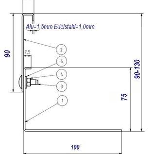 Versandmetall Kiesfangleiste Edelstahl höhenverstellbar 1.4301 Höhe 90-130mm – 90° gekantet