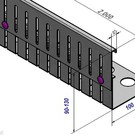 Versandmetall Bande  de gravier en acier inoxydable hauteur réglable en hauteur 90-130mm