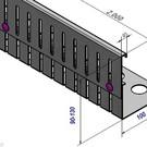 Versandmetall Grindkeringsprofiel Grindprofiel hoogte verstelbaar roestvrij Staal Hoogte 90-130mm