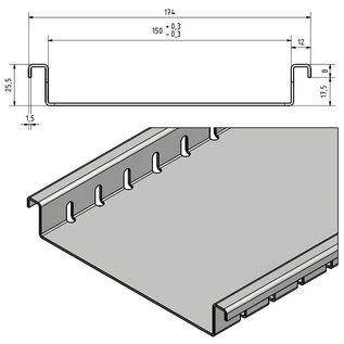 Versandmetall Drainagerinne aus Aluminium Einlaufbreite 150mm Bestellmengen 10m, 20m, 30m, 40m, 50m