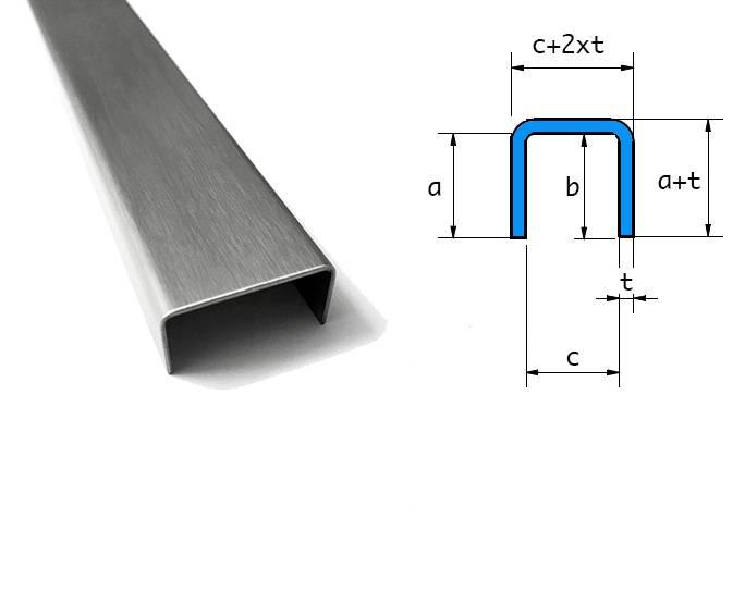 20x25x20mm 1000mm L/änge 2mm U-Profile Edelstahl geb/ürstet 1.4301