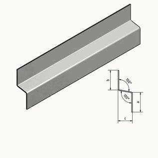 Versandmetall Z-profiel Traufblech 100 ° gemaakt van roestvrij staal 2-voudig opgevouwen Materiaaldikte 1,5 mm axcb 20 x 40 x 20 mm Lengte 2000 mm Buitengrond K320