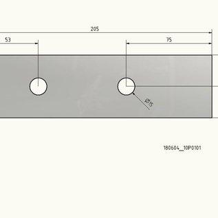 -50er Set V2A 1.4301 Edelstahlblech nach Skizze 55x205mm mit 2 Bohrungen d15mm