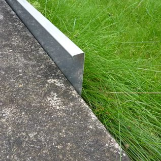 Versandmetall 2,5 m lang stabiel gazonrand grind richel bedframe gemaakt van roestvrij staal 130-200 mm hoog, 20 mm breed