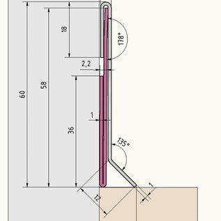 Versandmetall SLF6-1 Sockelleiste Sockelblende Fussleiste,  unten 10mm  1,0mm, 60mm hoch, Schliff Korn 320